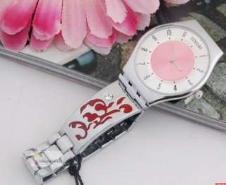 Women Ultra Thin Wrist Watch Bracelet Carved Flower Red