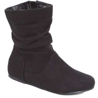 Girls Cute Faux Suede Flat Boots Mid Calf Shoes Black with Side Zipper