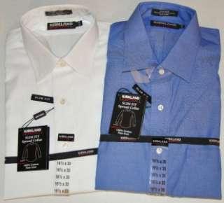 kirkland mens slim fit spread collar dress shirt no iron