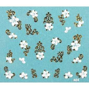 Fashion design 3D nail sticker nail decals gold vine and white flowers