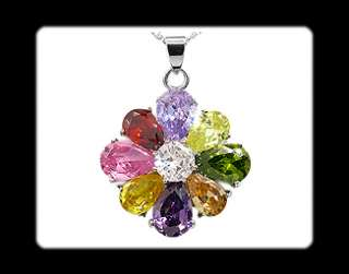 Fancy Pear Cut MultiColor 18K White Gold Plated Pendant