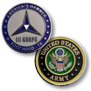 ARMY FORT HOOD III CORPS AMERICAS HAMMER CHALLENGE COIN