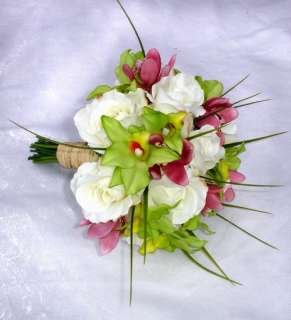 Roses Orchids Pink Bridal Bouquet & BOUTONNIERE Silk Wedding Flowers