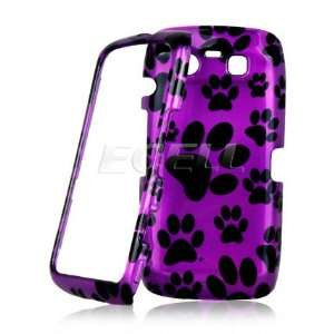 Ecell   PURPLE DOG PAW PRINT DESIGN FRONT & BACK CASE FOR