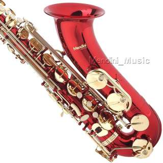 NEW STUDENT RED LACQUER TENOR SAXOPHONE SAX+$39 TUNER