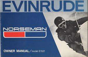 1972 EVINRUDE NORSEMAN SNOWMOBILE OWNERS MANUAL