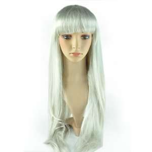 Heat Resistant Anime White silver Long straight Cosplay full Wig wigs