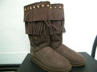 JIMMY CHOO UGG BROWN FRING boots suede STAR STUDS cho