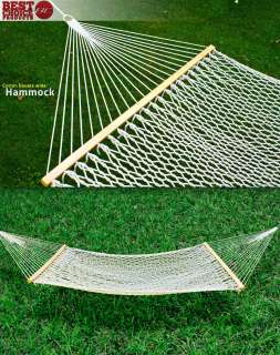 59 Cotton Double Wide Solid Wood Spreader Outdoor Patio Yard Hammock