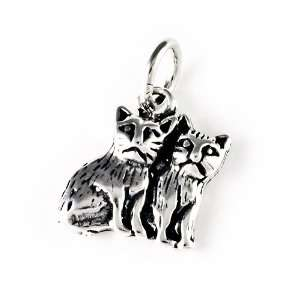 Two Cats Kittens Charm Pendant Jewelry