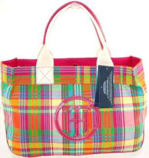 TOMMY HILFIGER TH CIRCLE LOGO PINK PLAID MADRAS TOTE BAG HANDBAG PURSE