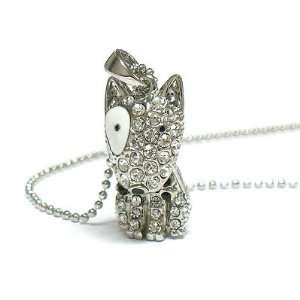 Cute ICED Puppy Dog Charm Necklace COVERED in Crystals