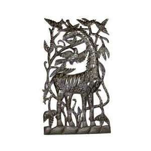 Metal Giraffe Wall Hanging   Oil Drum Art Black