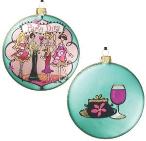 Set 6 Glass Disc Teal Party Diva Wine Purse Christmas Ornament