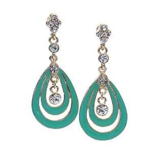 Gold and Mint Green 2 Inch Rhinestone Tear Drop Earrings