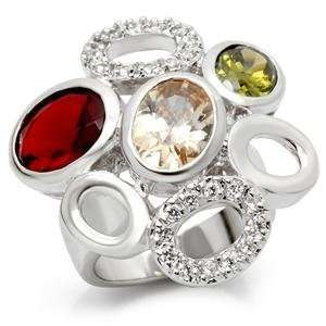 Silver Tone Multicolor CZ Cocktail Ring Size 5 Jewelry