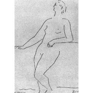 Pablo Picasso   24 x 34 inches   Mujer desnuda de pie apoyándose