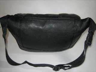 NEW BLACK THICK LEATHER WAIST BELT FANNY PACK PURSE XL