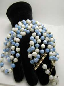 Vintage 5 Strand Blue White Gold Tone Bead Necklace