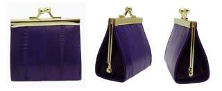 Genuine Eel skin Leather Triangle Snap Coin Purse Wallet Case Holder