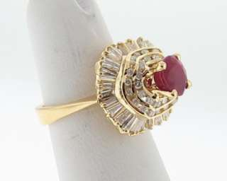 Estate Natural Ruby Diamonds Solid 18k Yellow Gold Cocktail Ring