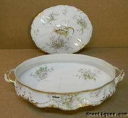 HAVILAND LIMOGES Oval Covrd Dish Pink Green Gold Flower