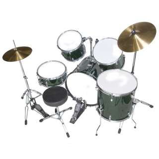 NEW 5 PIECE COMPLETE DRUM SET +CYMBAL+STOOL ~GREEN