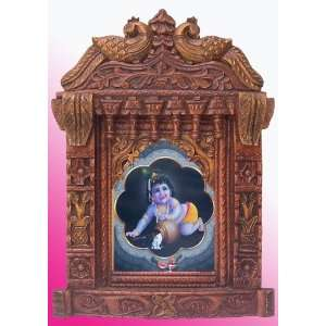 Child Lord Krishna Enjoying with Butter Poster Painting in
