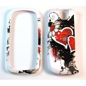 White with Double Red Heart Graffiti Art Pantech P7000