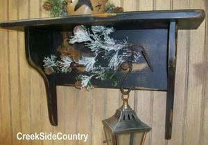 Primitive Grungy Country Shaker Wood 2 peg Shelf   black
