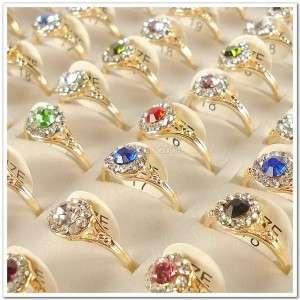 Wholesale Lots of 50PCS Gold Plated Rhinestone Crystal Rings 50A08