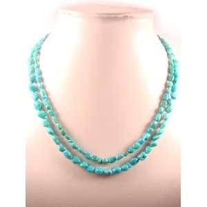 Layers Turquoise Fancy Shape Natural Crystal Bead Necklace Jewelry