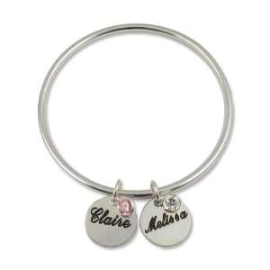 Sterling Silver Couples Name & Birthstone Bangle Bracelet Jewelry