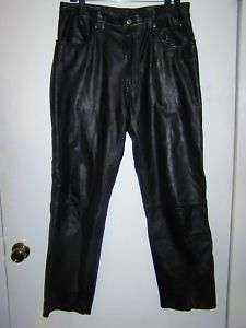 Harley Davidson black leather biker pants sz 34