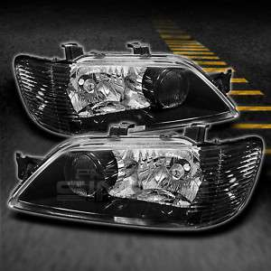 2002 2003 MITSUBISHI LANCER JDM BLACK HEADLIGHTS LAMPS