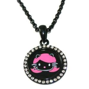 Black & Hot Pink Harajuku Kitty Charm Necklace with Ice