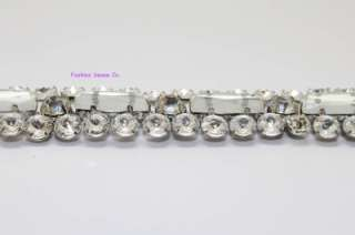bridal wedding costume applique glass rhinestone crystal silver chain