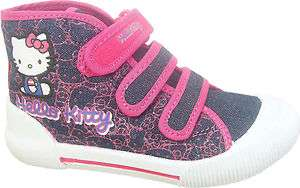 HK45 Girls Hello Kitty Denim Canvas Trainer Boot Shoe Size 8 9 10 11