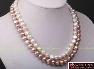 ROW LARGE 9 10MM WHITE PINK FRESHWATER PEARL NECKLACE