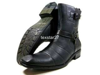 Mens Black D ALDO Dress Casual Boots Styled In Italy Cross Buckle