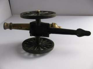 Cast Iron Toy Cannon Wheels Move Vintage