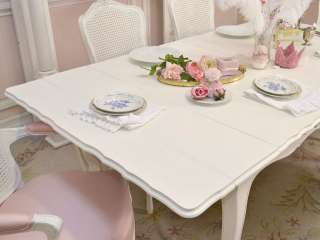 Cottage Chic White Dining Table 2 Leaf French Vintage Style Roses Long