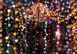 20 MIXED SHAPES MULTI COLORS RATTAN BALLS FAIRY LIGHT LAMP +ELECTRIC