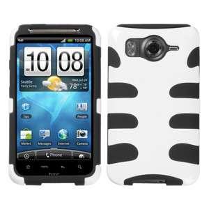 HTC Inspire 4G Fishbone Hard Case Cover Soft Silicone White /Black
