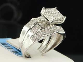 WHITE GOLD DIAMOND ENGAGEMENT RING WEDDING BAND TRIO SET CUBE