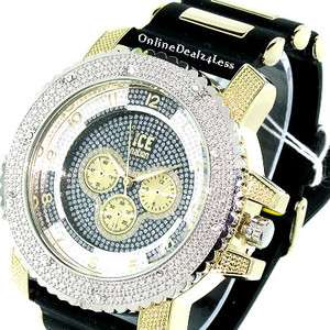 ICED OUT MENS SILVER/GOLD ICE NATION HIP HOP BLING SILICONE WATCH