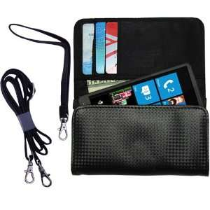 Black Purse Hand Bag Case for the HTC HD3 with both a hand