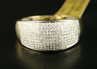 MENS 10 MM YELLOW GOLD WEDDING BAND DIAMOND RING .80 CT