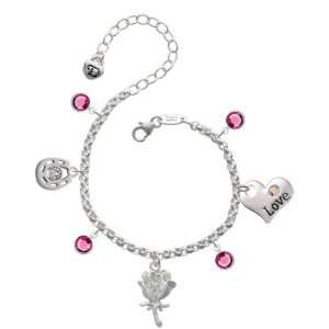 Antiqued Silver Rose Love & Luck Charm Bracelet with Rose