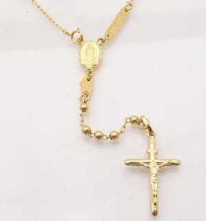 ROSARY NECKLACE CRUCIFIX VIRGIN MARY 14K Yellow Gold 26